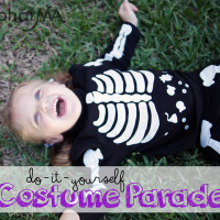 DIY Halloween Costumes, family costumes, kids costumes, group costumes, easy DIY Halloween Costumes, Pregnant Skeleton Costume, The Flintstones, Pebbles, Goldilocks and the 3 Bears Costumes, Hula Skirt Costume, Baby Frenchman Costume